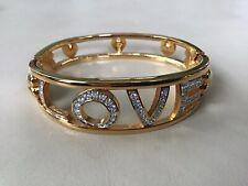 Swarovski Signed Hinged Gold Plated Bangle Bracelet Crystal Pave' Love - J22