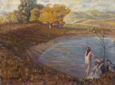 Nakte Frau am Teich. Impressionist. Signiert: Karl Schertz.