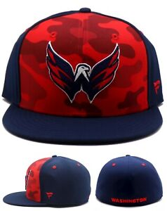 Washington Capitals New Fanatics NHL Camo Blue Red Era Fitted Hat Cap 7 3/8