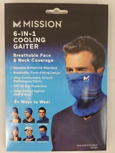 MISSION New Adult Compact Cooling Neck Gaiter Face Cover Mask Blue Cools Upf50