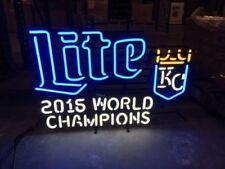 "New Miller Lite Kansas City Royals 2015 World Champions Neon Light Sign 24""x20"""