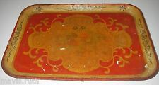 Antique Japan Toleware TRAY Paper Mache Hand Painted Round Floral Shappy Chic