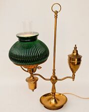 Vintage Brass 1-Light Student Oil Style Lamp With Glass Shade and Chimney