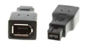 9pin Male~6pin Female IEEE1394b Firewire/iLink/DV 800mbs Cable/Cord Adapter$SHdi