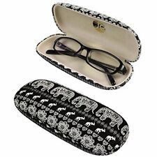 EQLEF Black Hard Eyeglass Case Spectacles Box With Cute Elephant Printing For O