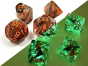 Chessex LAB DICE Nebula 7-Die Poly Set (Copper/Orange) CHX30040 Luminary Effect
