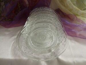 6 Schöne flache nostalgische Teller Speiseteller Platte Servierplatte Glas 25 cm