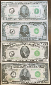 *NEW*Reproduction Set 1934 Fed Reserve Notes $500 $1000 $5000 $10,000 High Denom