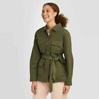 Women's Long Sleeve Trucker Jacket - A New Day Size XS Olive Green