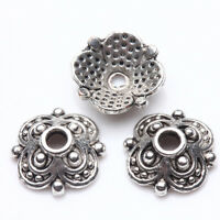 End Caps  50/100 PCS Flower Shape Tibetan Silver Floral Bead Caps 10x3mm