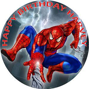 SPIDERMAN BIRTHDAY CAKE EDIBLE ROUND BIRTHDAY CAKE TOPPER DECORATION
