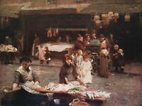 WALTER OSBORNE 1893 Oil Painting THE FISH MARKET, DUBLIN Vintage 1930 Book Print