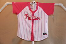 PHILADELPHIA PHILLIES Majestic JERSEY Womens Small  sz 6-8  NWT pink  $65 retail