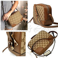 Gucci Bree Guccissima GG Leather Canvas Crossbody Shoulder Bag 449413 AUTHEN