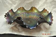 Northwood Amethyst Carnival Glass Stippled Rays Bon Bon Dish Bowl  Purple