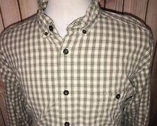 Vintage Woolrich Button Front Shirt Men's Size XXL Green Beige Plaid 100% Cotton