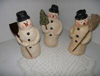 "Collectible Snowmen Old World Plaster Glitter 3 Snowmen Figurine 7"""