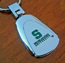 MICHIGAN STATE UNIVERSITY SPARTANS Silver Green color filled KEYCHAIN keyring