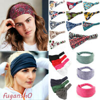 BOHO Wide Cotton Stretch Print Headband Headwrap Women Sports Yoga Hair Bands