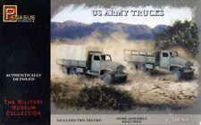 PEGASUS 7651 WWII US ARMY TRUCKS 1/72 SNAP FIT UNPAINTED PLASTIC KIT FREE SHIP