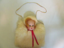 Vintage 1950s Childs Muff Doll Head White Rabbit Fur Red Hair Hazel Eyes