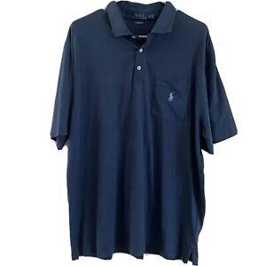 Ralph Lauren Polo Short Sleeve Polo Shirt, Cotton, Solid Blue w/ Blue Pony, XL