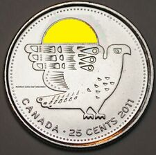 Canada 2011 25 cents Coloured Falcon Nice UNC from roll - BU Canadian Quarter