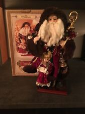 "2001 Grandeur Noel 16"" Fabric Santa Claus W/ Little Girl On Wood Base NIB"