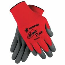 MCR Safety N9680M Ninja Flex, 15 Gauge Red Nylon, Gray Latex Gloves, Medium