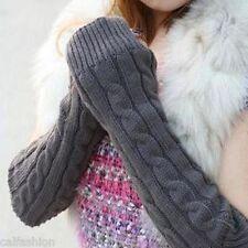Korean Arm Warmer Fingerless Long Gray Gloves Leisure Knitting Wool Mittens