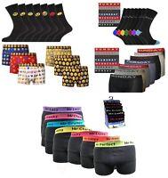 Mens Novelty Emoji Mood 7 Days Christmas Gift Idea Cotton Boxers and Sock Combo