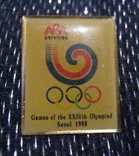 Great push pin badge advertising ARA Services Seoul Summer Olympics