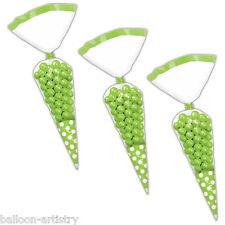 10 Polka Dot Spots GREEN Treat Loot Party Sweet Candy CONE Bags & Twist Ties