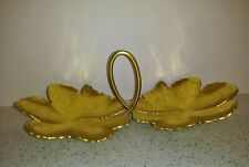 Vintage Mid Century Neocraft Everlast Gold Aluminum Butterfly Flower Candy Tray