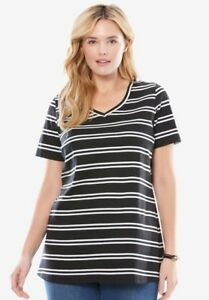 NWT DOUBLE STRIPED TUNIC CLASSIC V-NECKLINE WOMAN WITHIN SIZE 1X - 2X