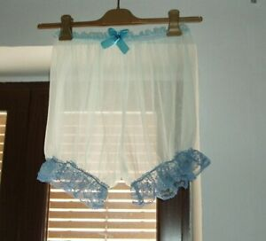Sissy Sheer Sheer Frilly Nylon Short Bloomers Panties Knickers Sheerest Blue