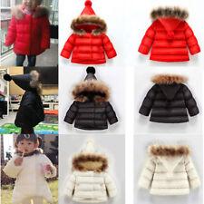 Chirstmas Kids Baby Winter Children's Girl Fur Collar Jacket Coat hooded 1-7 Yr