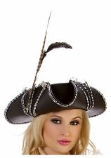 BLACK LEATHER LIKE ROGUE PIRATE HAT (with defect)