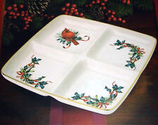 Lenox Winter Greetings 4 Part Divided Square Serving Dish Red Cardinal Bird New