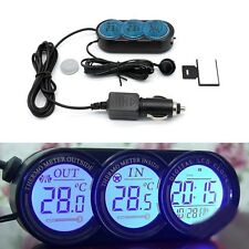 Car Vehicle Digital LCD Clock Temperature Thermometer Gauge Inside & Outside UK