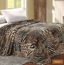 Safari Animal Print Blanket Feel Warm Soft FULL Throw Bedding Fleece New Comfy
