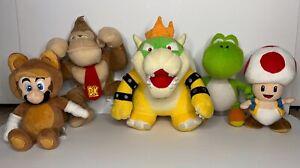 5 Lot Plush Nintendo Super Mario Toad, Tanooki Mario, Yoshi, Bowser, Donkey Kong