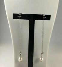 Stunning - Kaori Freshwater Cultured Pearl & Crown Sterling Silver Drop Earrings