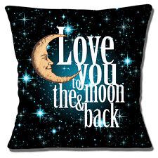 """""""LOVE YOU to the Moon & Indietro 'Nero Blu Bianco Multi 16""""x16"""" 40cm Copricuscino"""