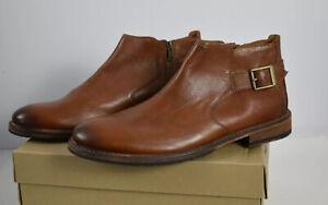 New Clarks Men Sz 13 M Clarkdale Remi Dark Tan Ankle Boots Leather Zipper Buckle