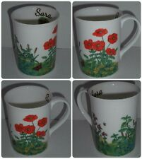 BN Personalised Meadow Poppies Mug, Bone China, Hand-decorated Boxed Floral Mug,