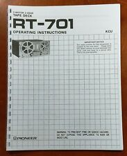 Pioneer RT-701 Reel to Reel Tape Deck Owners Manual