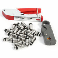 New Compression Tool BNC RG6 RG59 RG58 Connector Cable Coax Stripper Crimper Set
