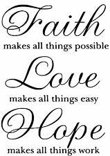 Faith,Love,Hope  Wall Art Decal / Sticker