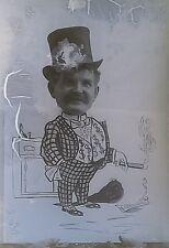 Man Money Suit Top Hat Circus Fair CutOut Glass Photo Negative 1890-1920 3x4 620
